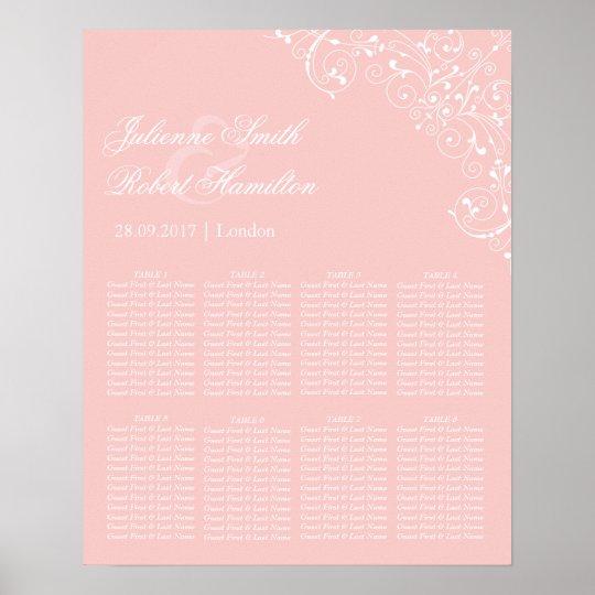 Beautiful Pink Blush Vintage Wedding Seating Chart
