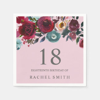 Beautiful Pink Burgundy Floral 18th birthday party Paper Napkin
