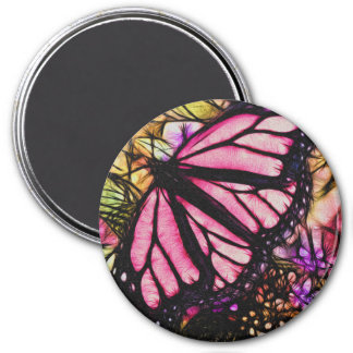 Beautiful Pink Butterfly Abstract 7.5 Cm Round Magnet