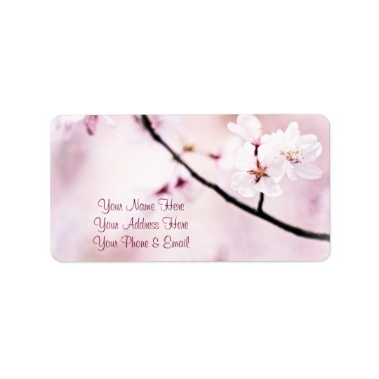 Beautiful Pink Cherry Blossoms White Sunshine Tree Label