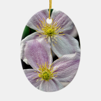 Beautiful pink clematis flowers ceramic oval decoration