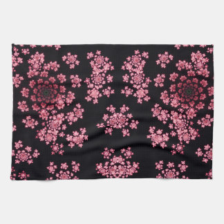Beautiful pink computer generated  fractal flowers tea towel