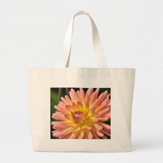 Beautiful pink dahlia floral print canvas bags