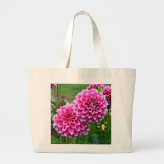 Beautiful pink dahlias in full bloom canvas bag