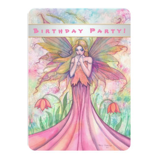 Beautiful Pink Fairy Girls Birthday Invitations