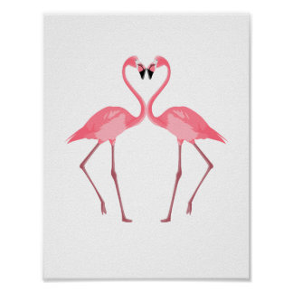 Beautiful Pink Flamingos Love Poster