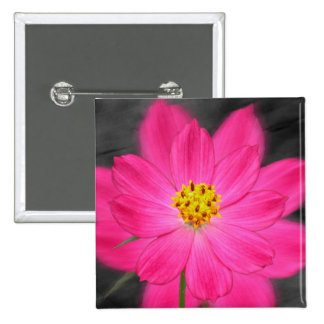 Beautiful pink flower 15 cm square badge