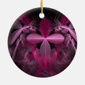 Beautiful Pink Flower Fractal Christmas Ornament