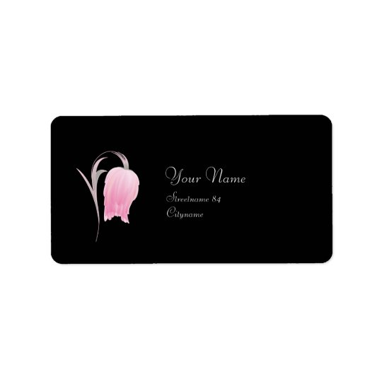 BEAUTIFUL PINK FLOWER LABEL