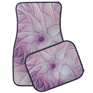 Beautiful Pink Flower Modern Abstract Fractal Art Car Mat