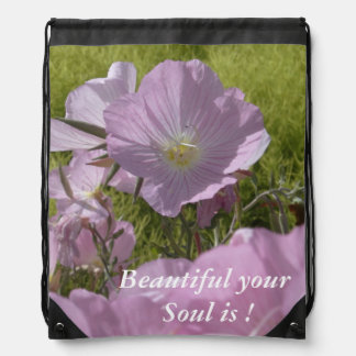 Beautiful pink flower positive quote Backpack