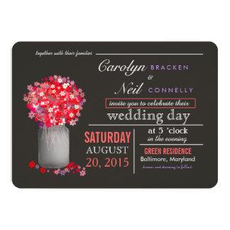 Beautiful Pink Flowers | Masonjar Wedding Invitati 13 Cm X 18 Cm Invitation Card