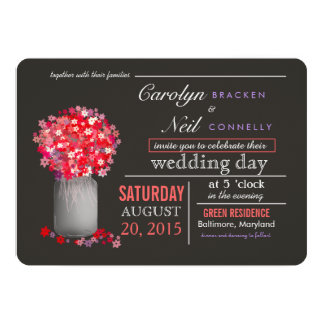 Beautiful Pink Flowers | Masonjar Wedding Invitati 13 Cm X 18 Cm Invitation Card