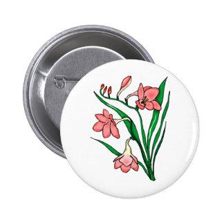 Beautiful Pink Flowers Pinback Button