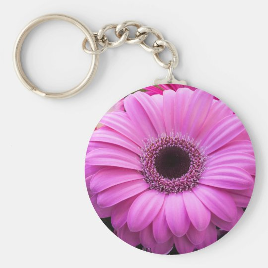 Beautiful pink gerbera flower key ring