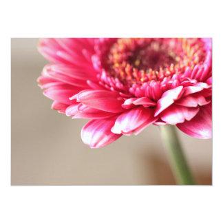 Beautiful pink gerbera on beige 14 cm x 19 cm invitation card
