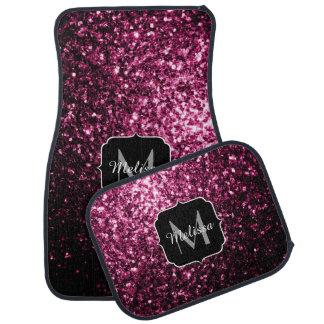 Beautiful Pink glitter sparkles Monogram Floor Mat