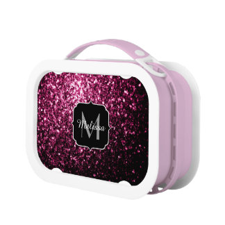 Beautiful Pink glitter sparkles Monogram Lunch Box