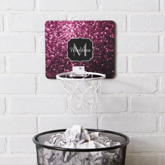 Beautiful Pink glitter sparkles Monogram Mini Basketball Hoop