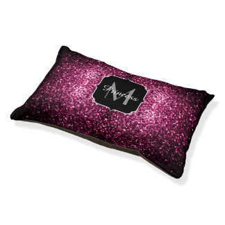 Beautiful Pink glitter sparkles Monogram Pet Bed