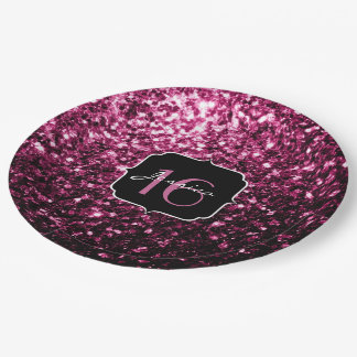 Beautiful Pink glitter sparkles Sweet 16 9 Inch Paper Plate