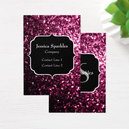 Beautiful Pink glitter sparkles with Monogram Business Card