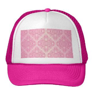 Beautiful,pink,gold,damask,vintage,antique,elegant Cap