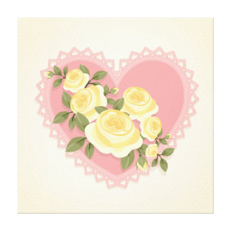 Beautiful pink lacy heart with flowers canvas prints