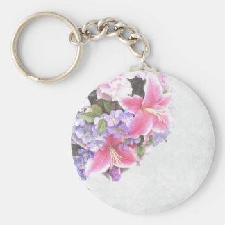 Beautiful Pink Lily Flower Decorative Art Basic Round Button Key Ring