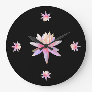 Beautiful Pink Lily Lotus Art Cool Trendy Unique Large Clock