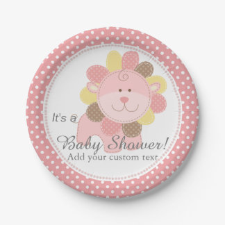 Beautiful Pink Lion Baby Shower Custom Paper Plate