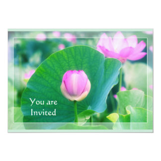 Beautiful Pink Lotus Bud Flower Green Leaf Blossom 13 Cm X 18 Cm Invitation Card