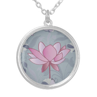 Beautiful pink lotus flower silver plated necklace