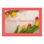 Beautiful pink orange tulips flowers anniversary card