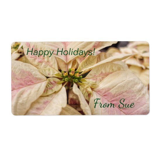 Beautiful Pink Poinsettia Custom Gift Labels