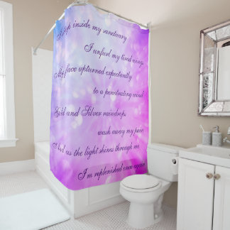 Beautiful Pink / Purple Cleansing Mantra design Shower Curtain
