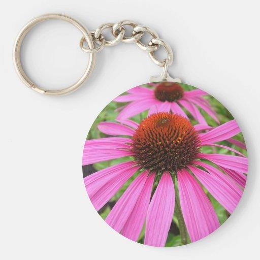 beautiful pink purple flowers keychain