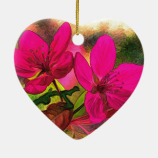 Beautiful pink red apple blossom. Double-sided Christmas Ornament