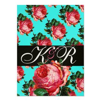 BEAUTIFUL PINK ROSE AQUA BLUE TEAL FLORAL MONOGRAM 14 CM X 19 CM INVITATION CARD