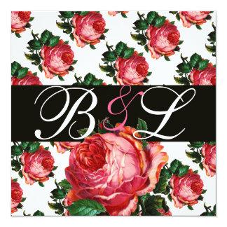"BEAUTIFUL PINK ROSE AQUA BLUE TEAL FLORAL MONOGRAM 5.25"" SQUARE INVITATION CARD"