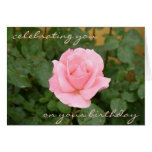 Beautiful Pink Rose Birthday Card
