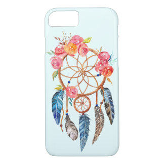 Beautiful Pink Rose Blue Feather Dreamcatcher iPhone 8/7 Case