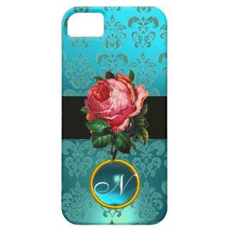 BEAUTIFUL PINK ROSE BLUE TEAL DAMASK GEM MONOGRAM CASE FOR THE iPhone 5
