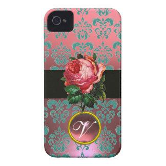BEAUTIFUL PINK ROSE BLUE TEAL DAMASK GEM MONOGRAM iPhone 4 Case-Mate CASE