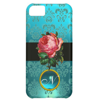 BEAUTIFUL PINK ROSE BLUE TEAL DAMASK GEM MONOGRAM iPhone 5C CASE