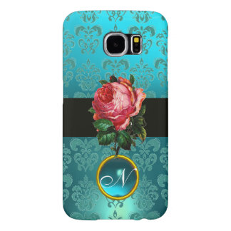BEAUTIFUL PINK ROSE BLUE TEAL DAMASK GEM MONOGRAM SAMSUNG GALAXY S6 CASES
