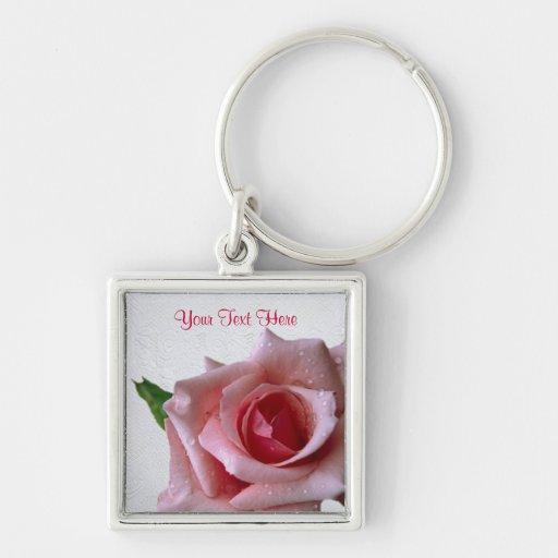 Beautiful Pink Rose Bud Design #2 Keychains
