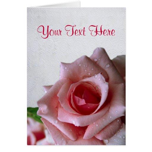 Beautiful Pink Rose Bud Design Card