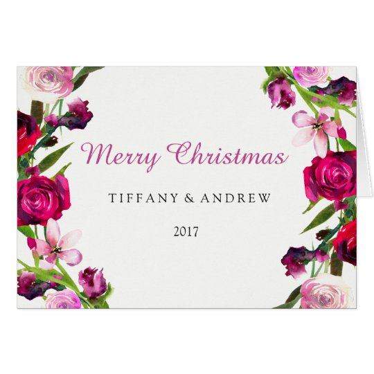 Beautiful Pink Rose Floral 2017 Christmas Card