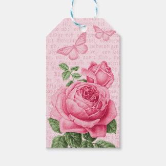 Beautiful pink rose gift tags - vintage collage
